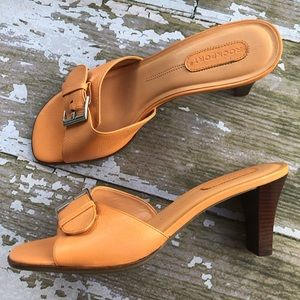 Rockport Sandals Slip On Heels Leather Buckle 10